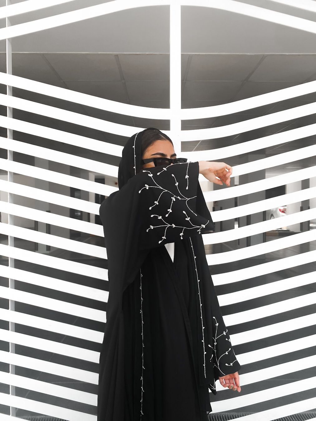Black abaya with silver embroidery
