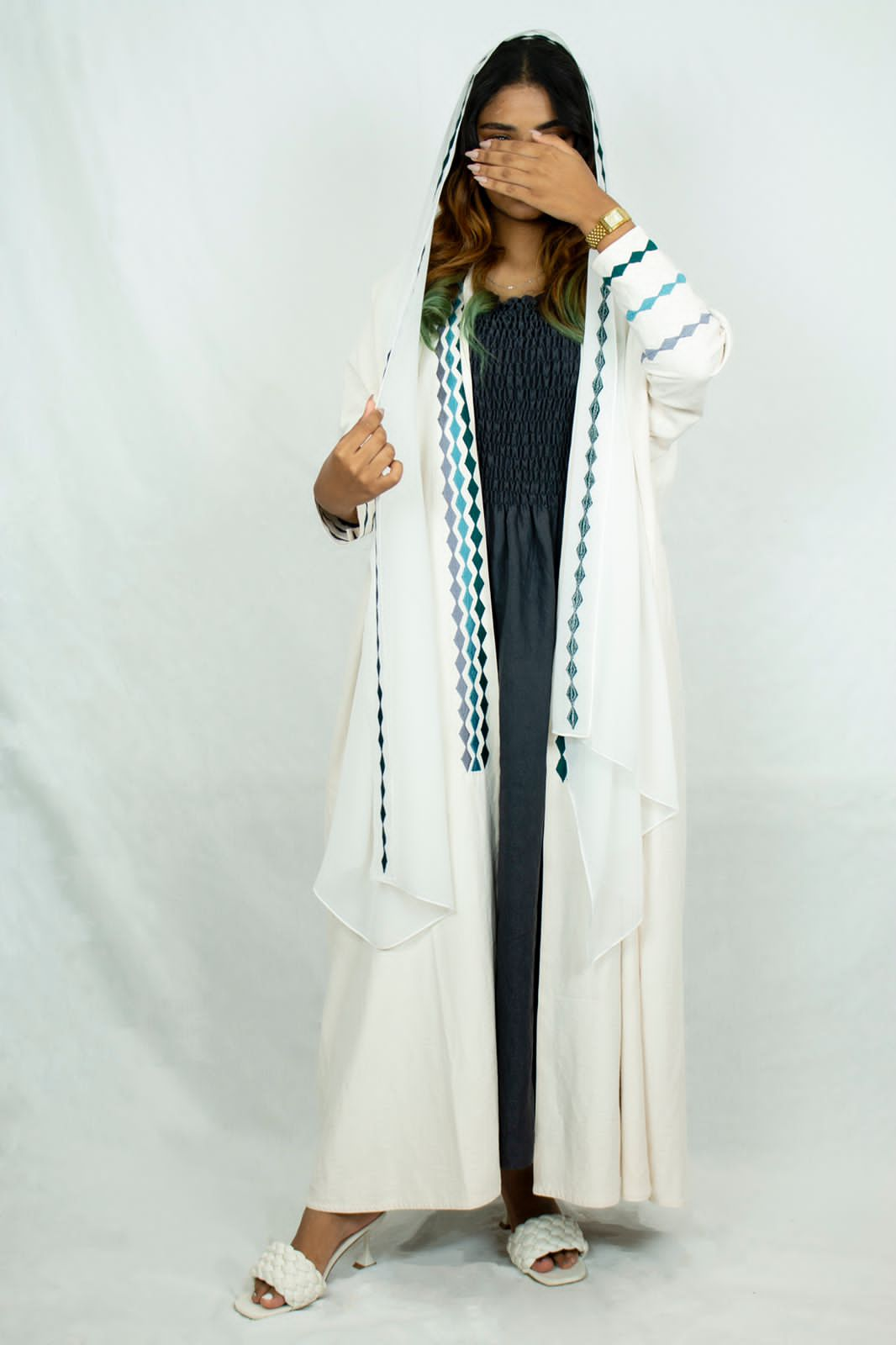 Mlbs white Abaya with colored embroidery