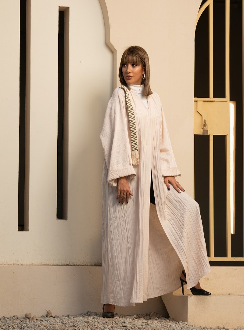 White Abaya with Gold & Green Embroidery