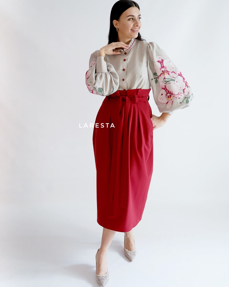 Orchid blouse and skirt
