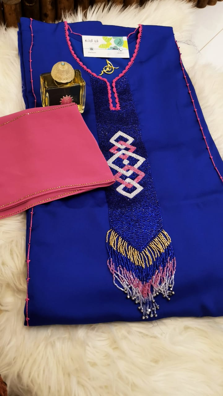 Moroccan Royal Blue with special fabric, embellishment and Korasha, 57 Inch length